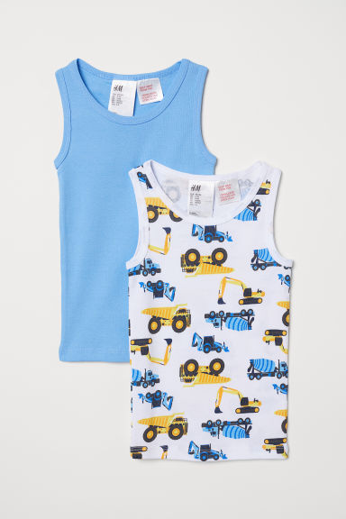 2-pack vest tops - Light blue/Diggers - Kids | H&M