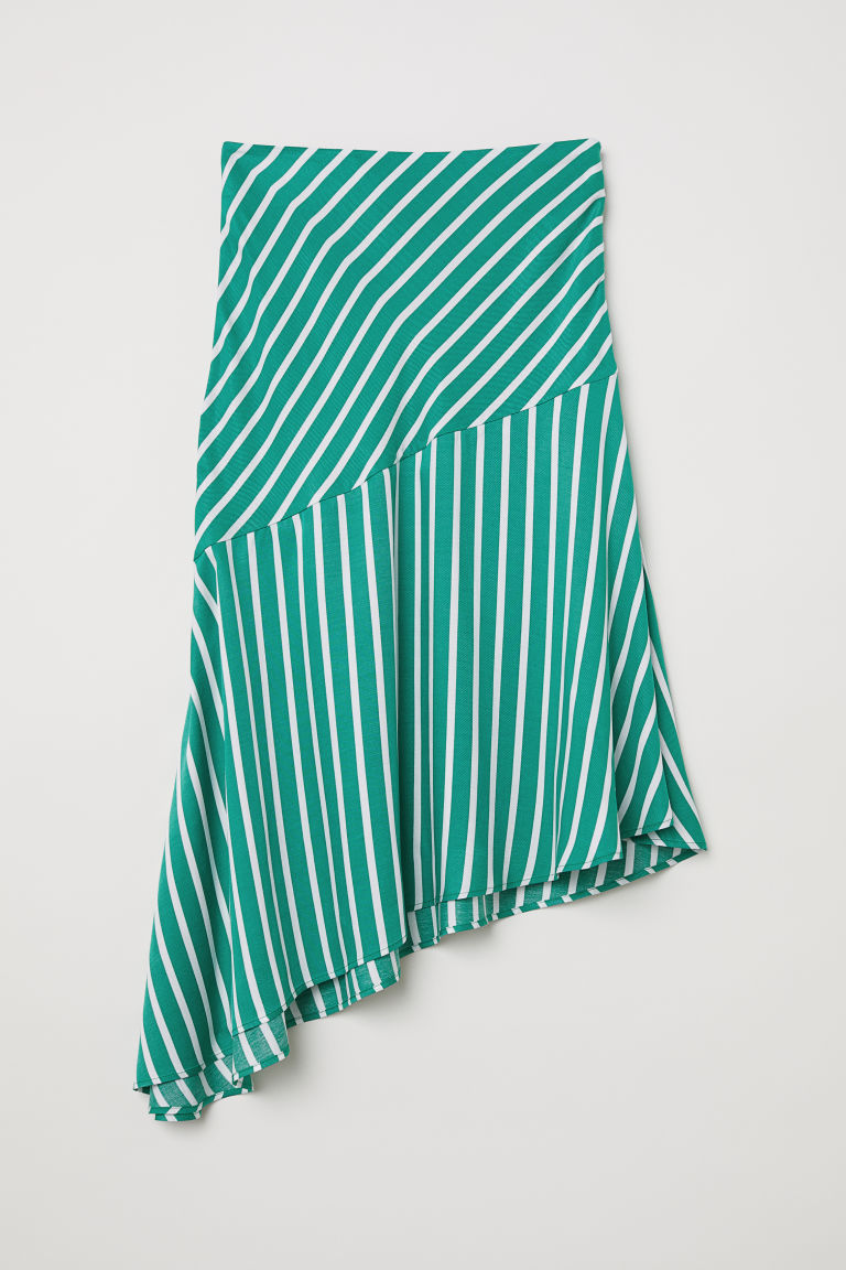 Asymmetric skirt - Green/White striped - Ladies | H&M CN