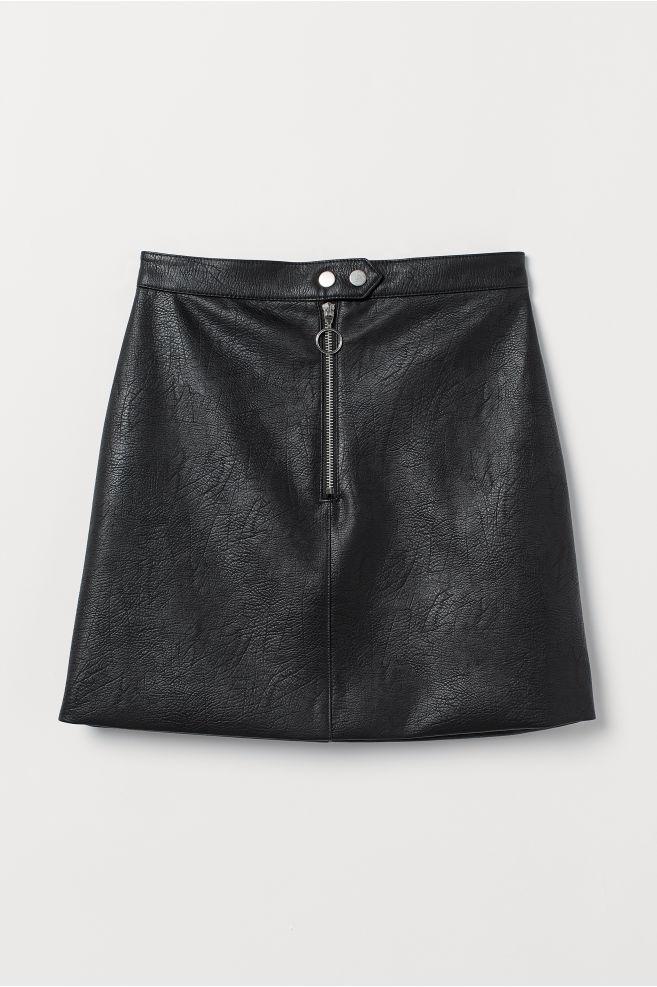 0b9b46d826c8 Imitation leather skirt - Black - | H&M ...
