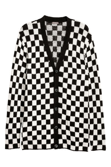 Jacquard-knit cardigan - Black/White checked - Men | H&M CN