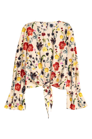 Seersucker top - Natural white/Floral - Ladies | H&M
