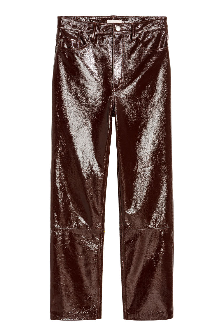 Coated leather trousers - Dark brown -  | H&M CN