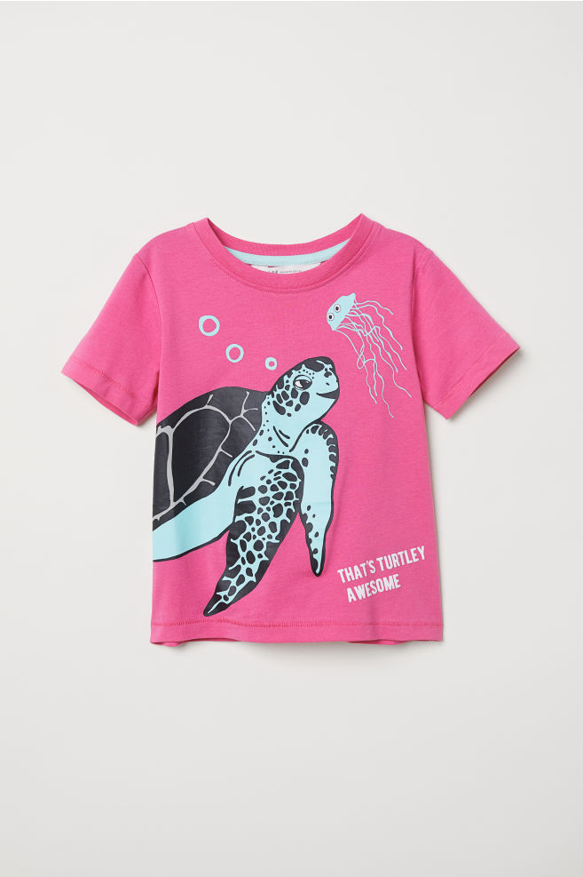 82421d4a7 T-shirt with Printed Design - Cerise turtle -