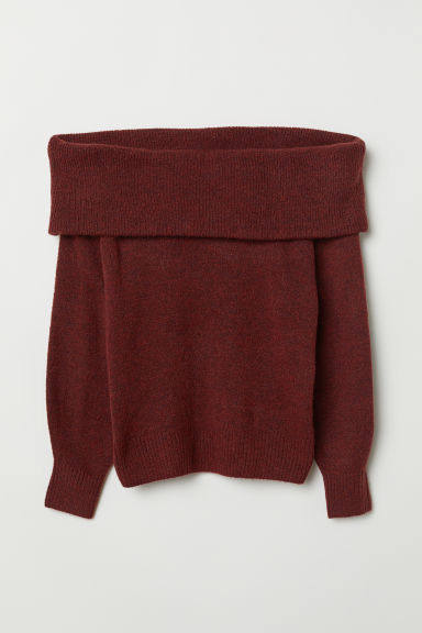 Off-the-shoulder jumper - Burgundy marl - Ladies | H&M CN