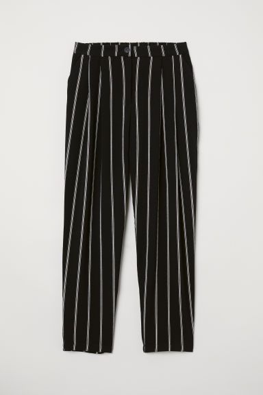 Wide trousers - Black/White striped - Ladies | H&M CN