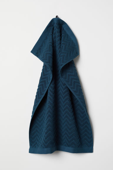Jacquard-patterned hand towel - Petrol - Home All | H&M CN