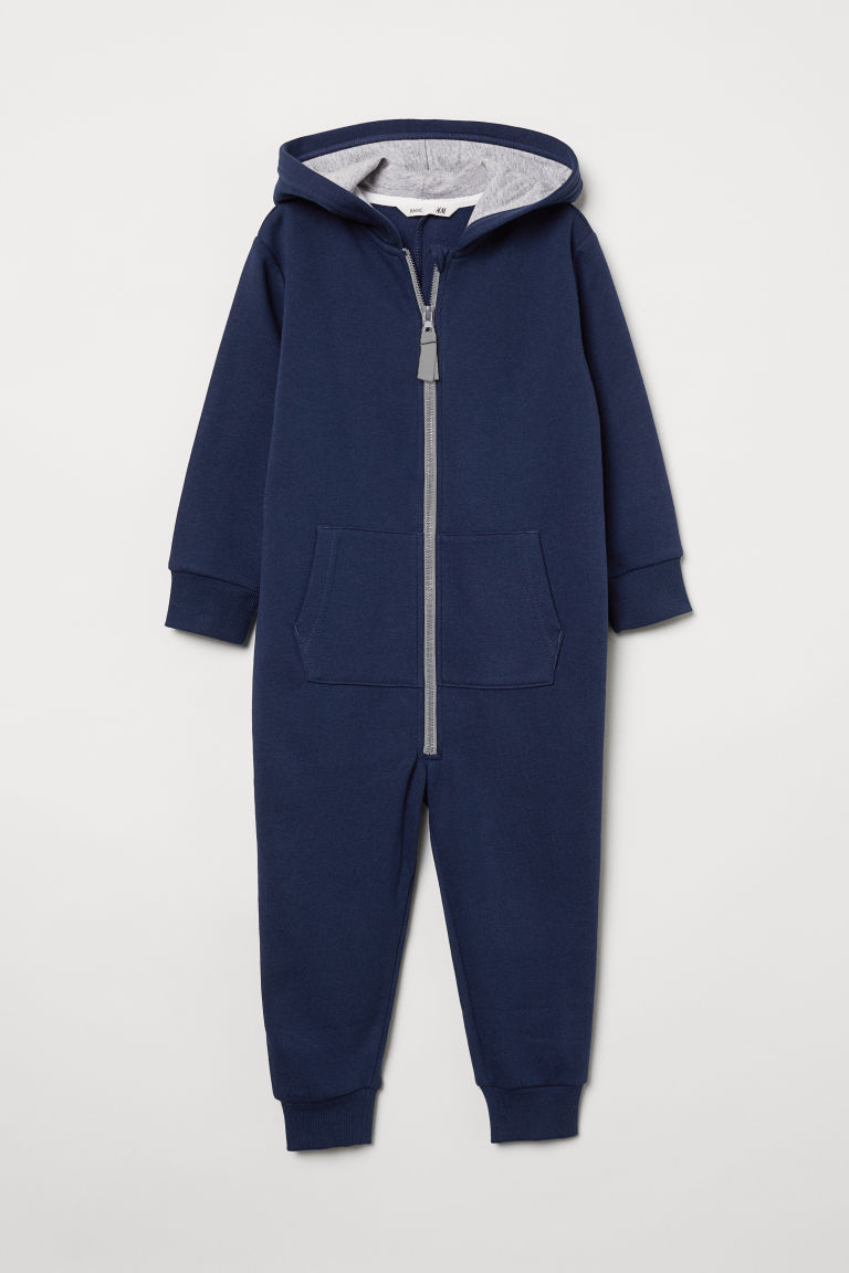 Hooded jumpsuit - Dark blue - Kids | H&M