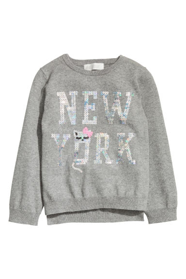 Pull brodé de paillettes - Gris/New York -  | H&M BE
