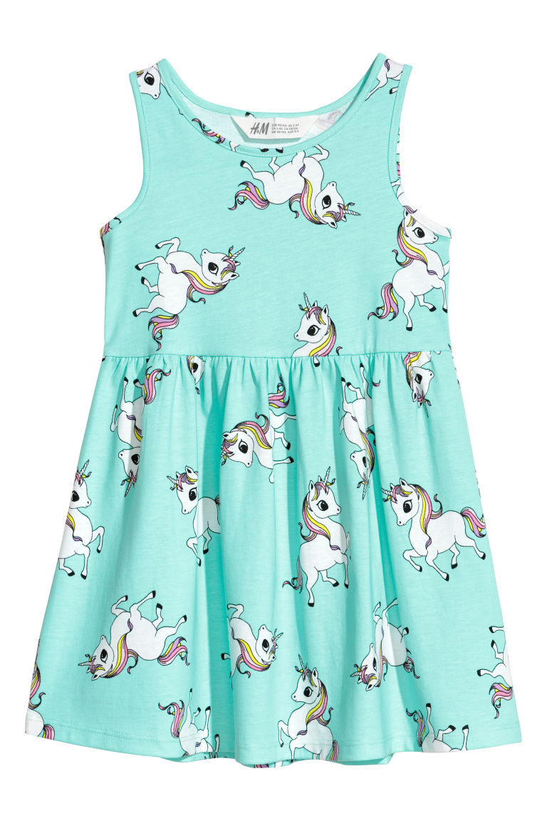 Sleeveless jersey dress - Turquoise/Unicorns -  | H&M CN