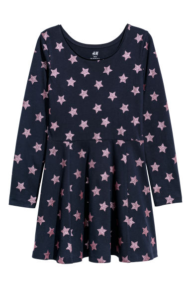 Bell-shaped jersey dress - Dark blue/Stars - Kids | H&M