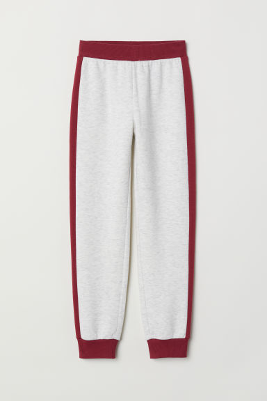 Joggers - Light grey marl/Dark red - Kids | H&M