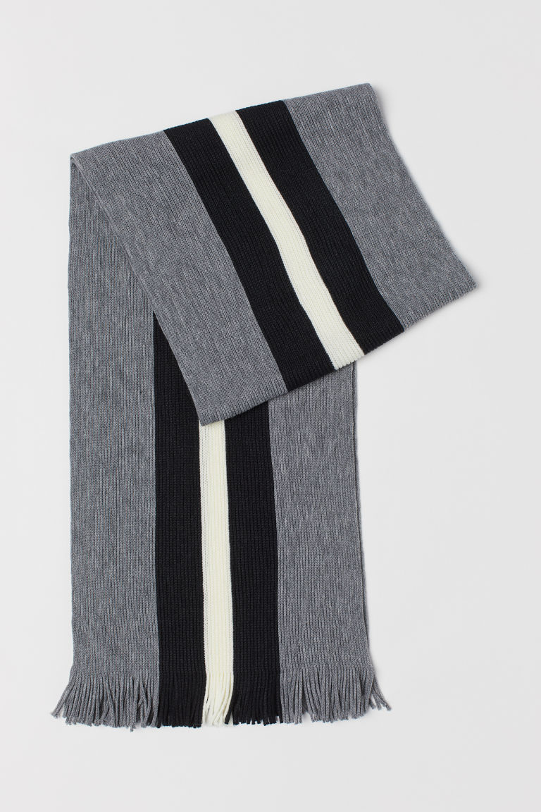 Rib-knit Scarf - Gray/black - Men | H&M US
