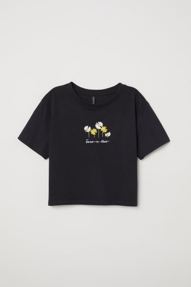 Short T-shirt - Black/Flowers -  | H&M CN