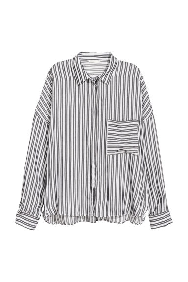 Wide shirt - White/Black striped -  | H&M
