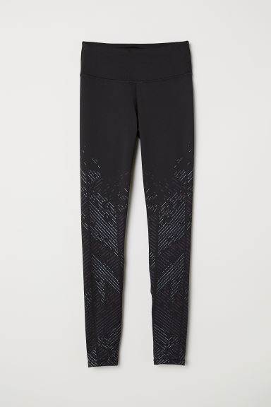 Sports tights - Black/Shimmer - Ladies | H&M