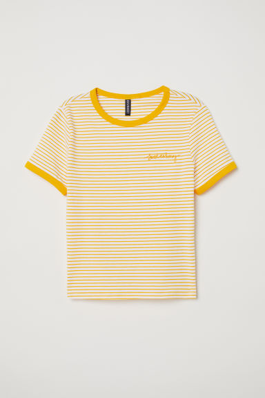 Short jersey top - White/Yellow striped - Ladies | H&M