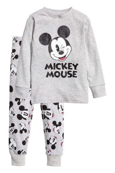 Jersey pyjamas - Grey marl/Mickey Mouse - Kids | H&M
