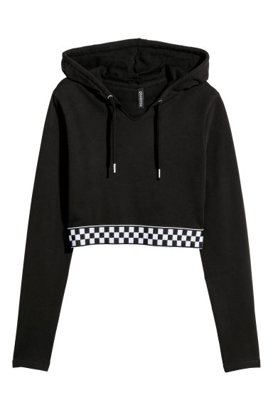 Short hooded top - Black -  | H&M