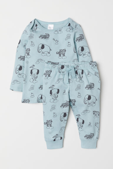 Jersey top and trousers - Light turquoise/Animals - Kids | H&M CN