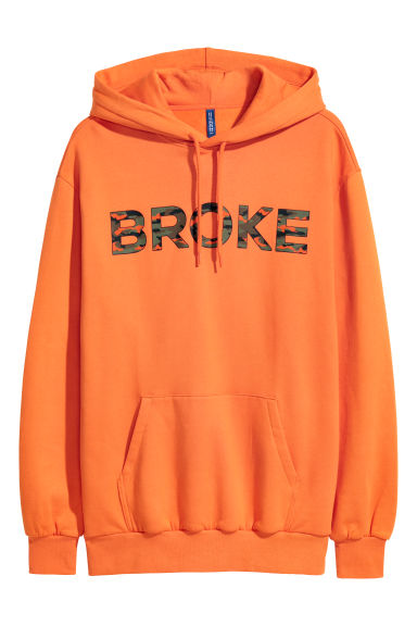 Hooded top - Orange/Broke - Men | H&M