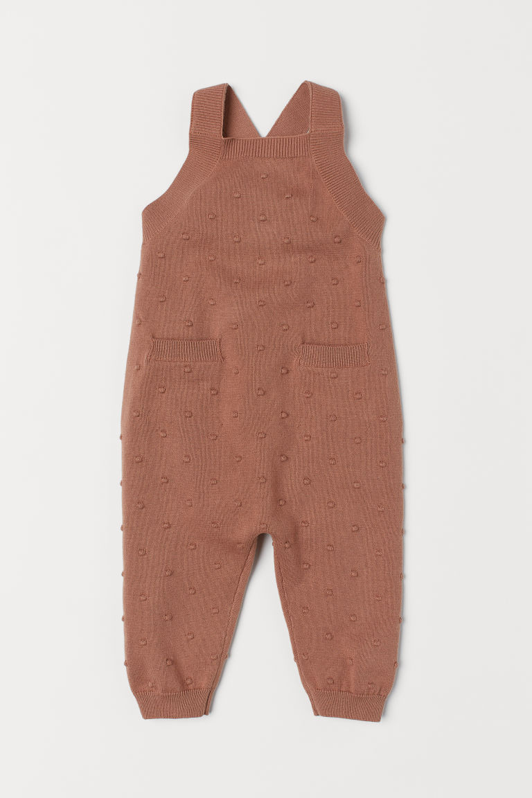 Knitted dungarees - Dark beige -  | H&M