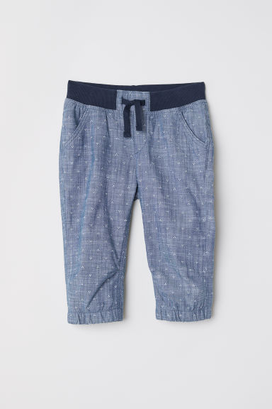 3/4-length pull-on trousers - Dark blue/Spotted - Kids | H&M