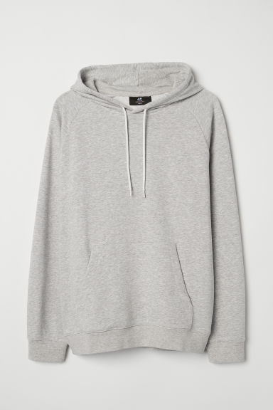 Hooded top with raglan sleeves - Light grey marl - Men | H&M
