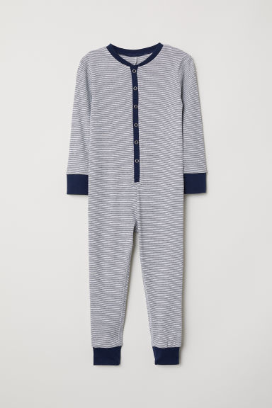 All-in-one pyjamas - Light grey/Blue striped -  | H&M CN