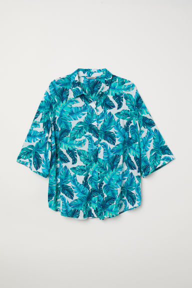 H&M+ Patterned blouse - White/Turquoise patterned - Ladies | H&M CN