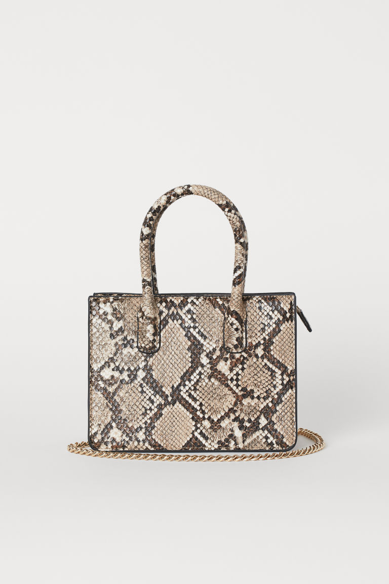 Mini handbag - Light beige/Snakeskin pattern - Ladies | H&M GB
