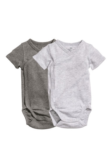 2-pack wrapover bodysuits - Light grey - Kids | H&M