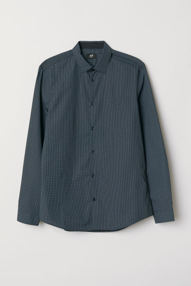 Cotton-blend shirt Slim fit - Black/Blue patterned - Men | H&M