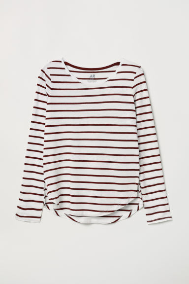 Modal-blend top - Burgundy/White striped - Kids | H&M