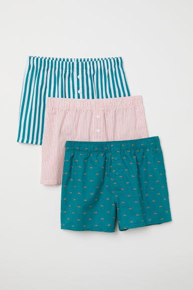 3-pack woven boxer shorts - Green/Multicoloured - Men | H&M