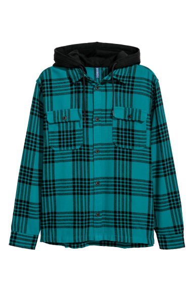 Hooded flannel shirt - Turquoise/Black checked - Men | H&M