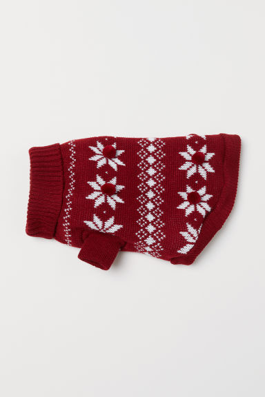 Knitted dog jumper - Dark red/Patterned - Ladies | H&M