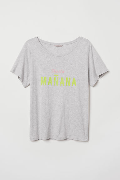 H&M+ T-shirt with a motif - Light grey marl - Ladies | H&M CN