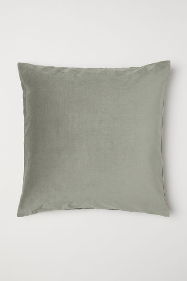 Cotton velvet cushion cover - Dusky green - Home All | H&M CN