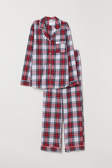 Flannel pyjamas - Red/Checked - Ladies | H&M