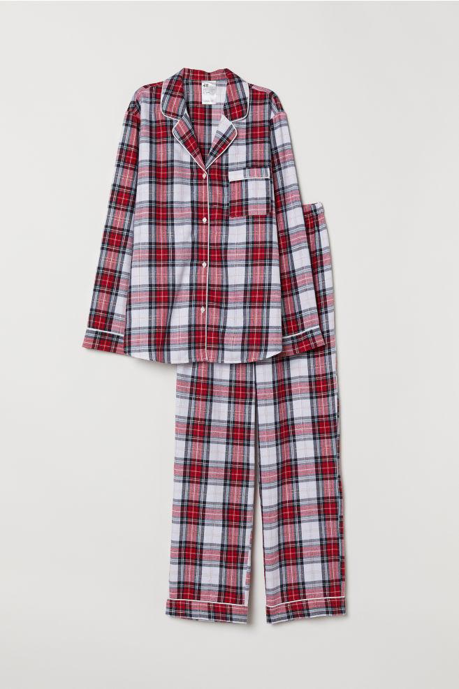 Inteligentny Flanelowa piżama - Czerwony/Krata -   H&M PL XB85