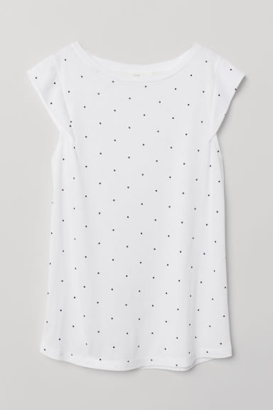 Jersey top - White/Spotted - Ladies | H&M