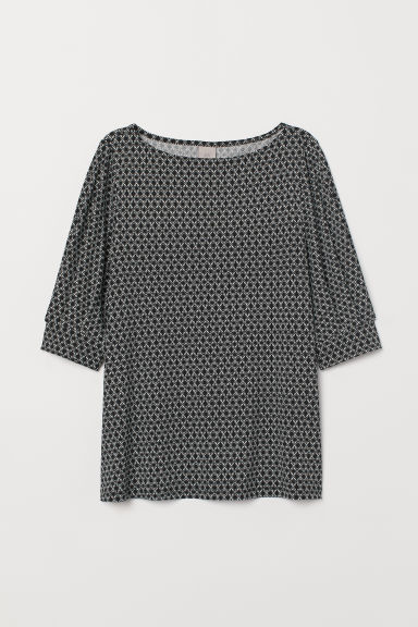 Jersey crêpe top - Black/White patterned - Ladies | H&M