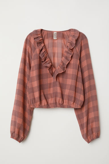 V-neck frill-trimmed blouse - Vintage pink/Checked - Ladies | H&M