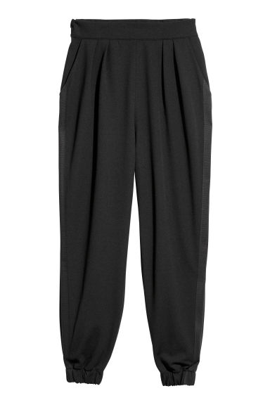 Pull-on side-striped trousers - Black -  | H&M