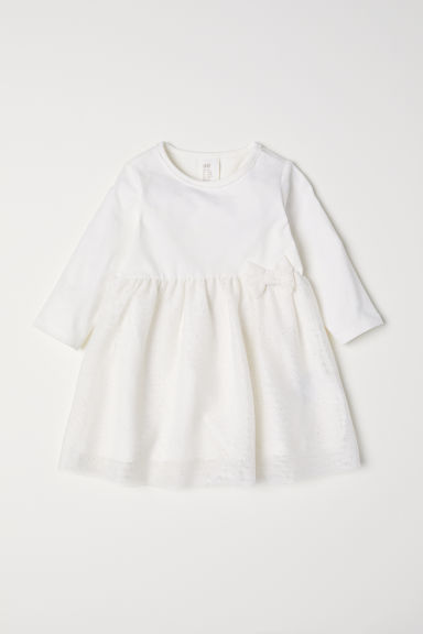 Glittery jersey dress - White - Kids | H&M CN