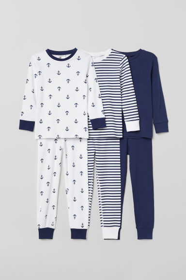 3-pack pyjamas - White/Anchors - Kids | H&M GB
