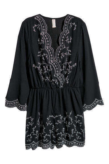 Playsuit with embroidery - Black -  | H&M