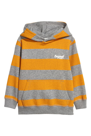 Hooded top - Grey/Yellow striped - Kids | H&M