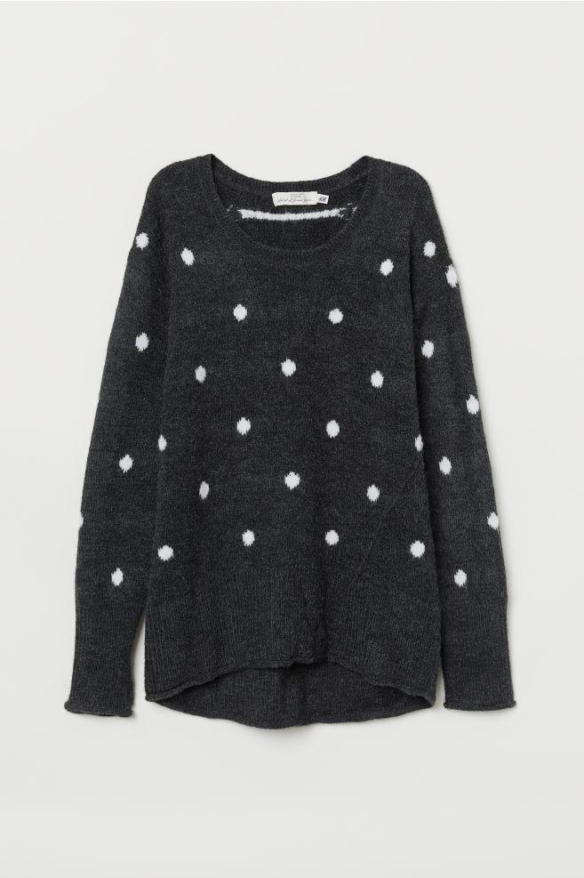 Kötött pulóver - Fekete fehér pöttyös - NŐI  56288edecd