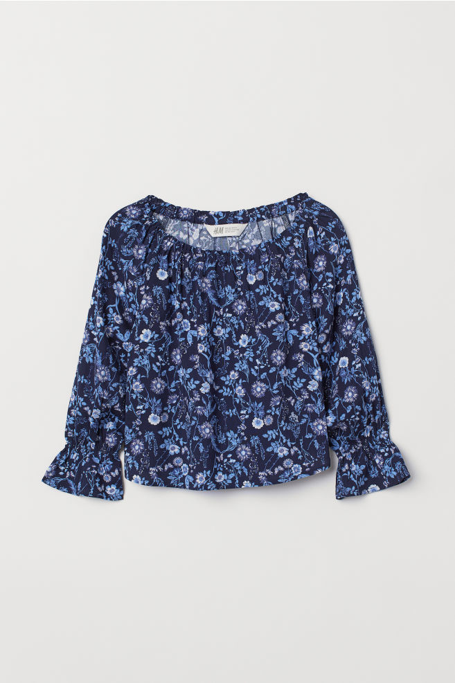 a5fffda2df83b1 ... Off-the-shoulder Top - Dark blue floral - Kids